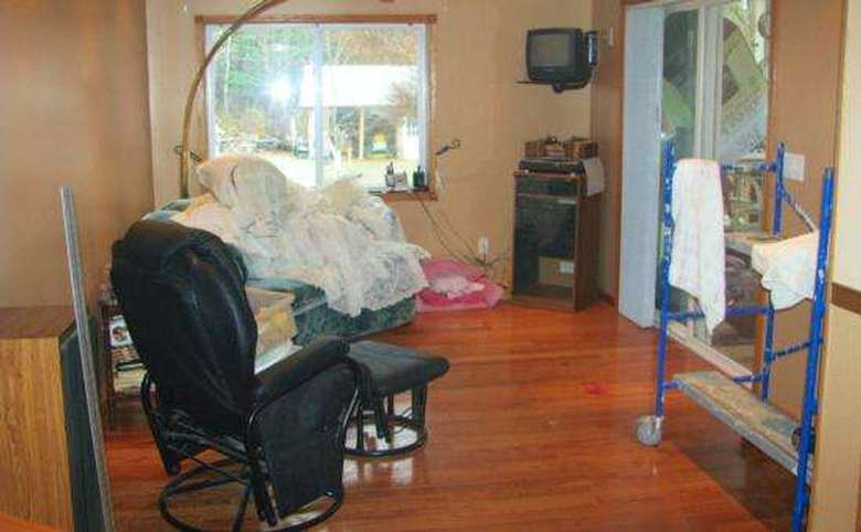 cluttered and disorganized family room