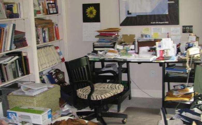 cluttered home office
