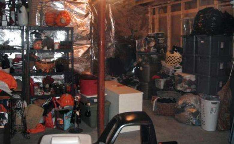 cluttered basement storage area