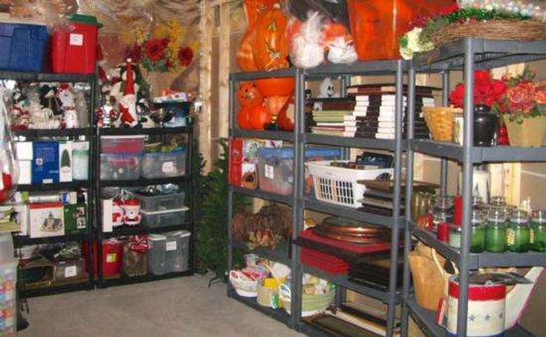 organized basement storage area with shelving and bins