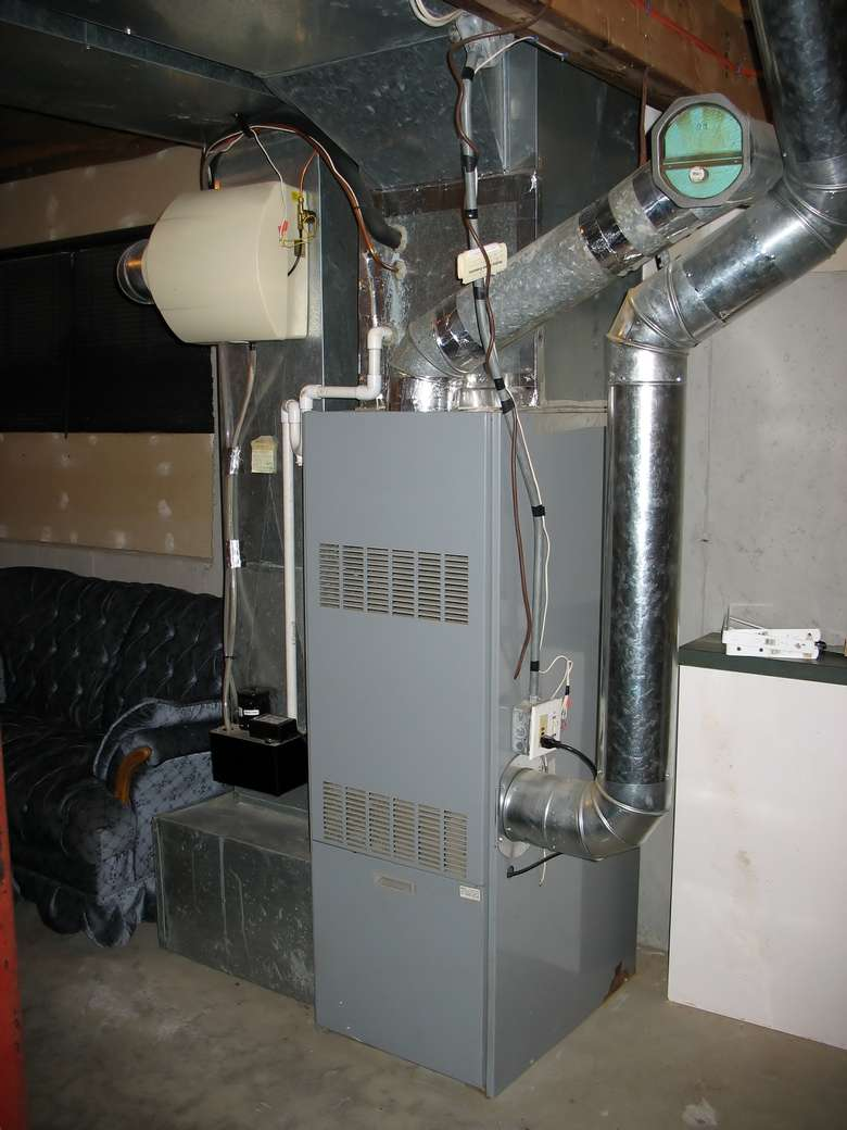 a large furnace in a basement