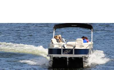 Family riding in a pontoon boat
