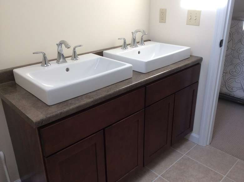 bathroom vanity with two sinks