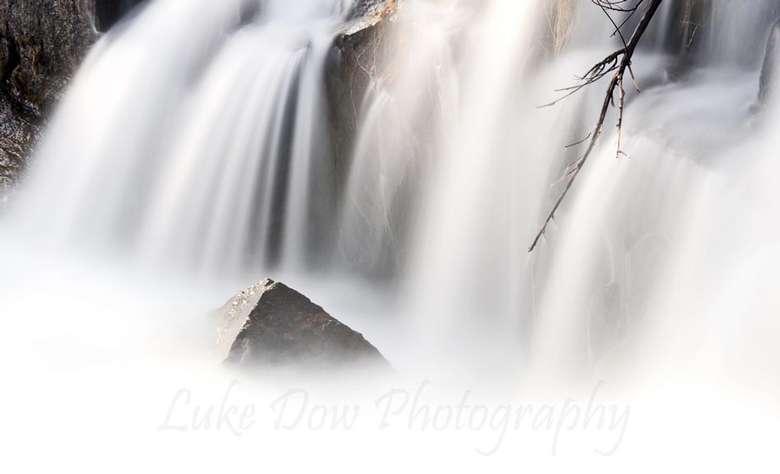 misty waterfalls rushing down