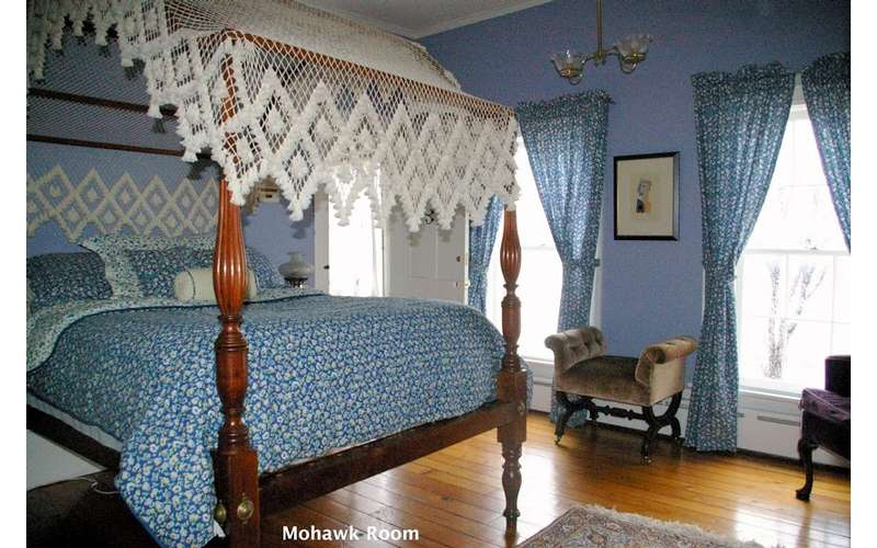 bedroom with blue bed covers and blue walls