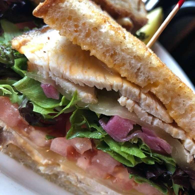 close up of a turkey sandwich