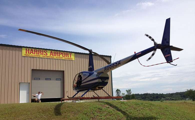Helicopter on a landing pad