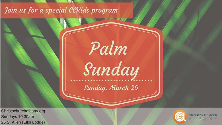advertisement for a palm sunday service
