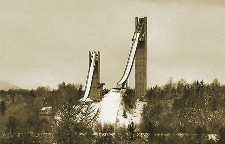 old photo of jumping complex