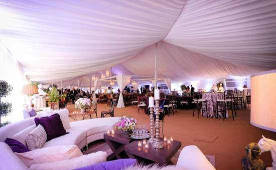 wedding tent with decorations