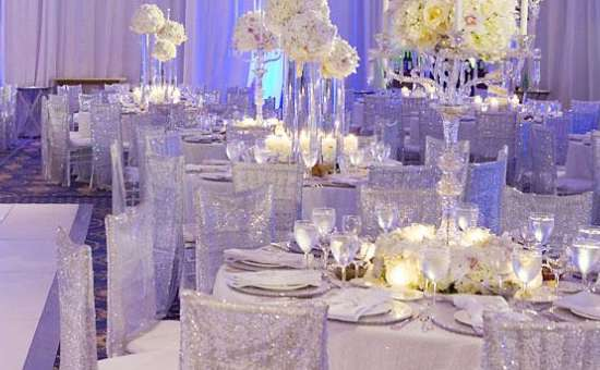 beautiful wedding decorations with white table cloths and chairs