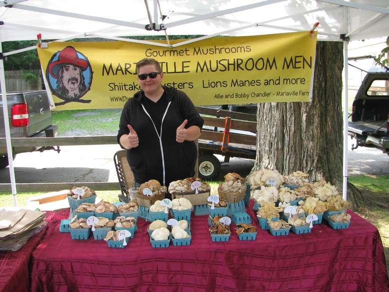 a mushroom vendor booth