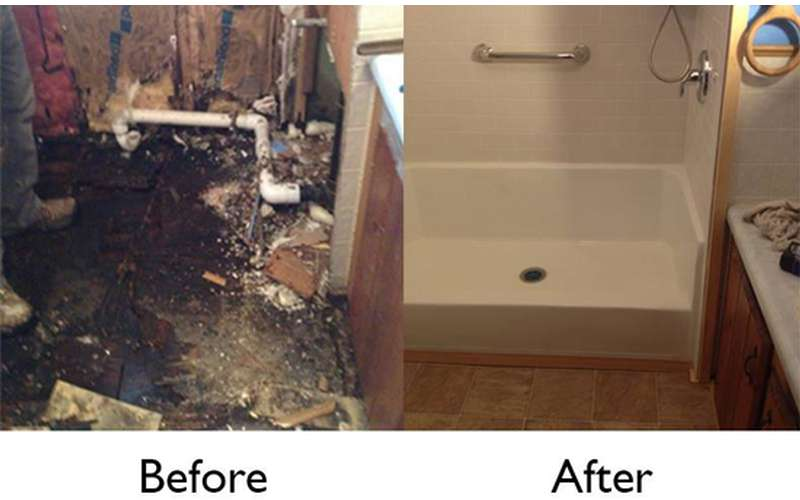 a before and after photo of a bathroom renovation
