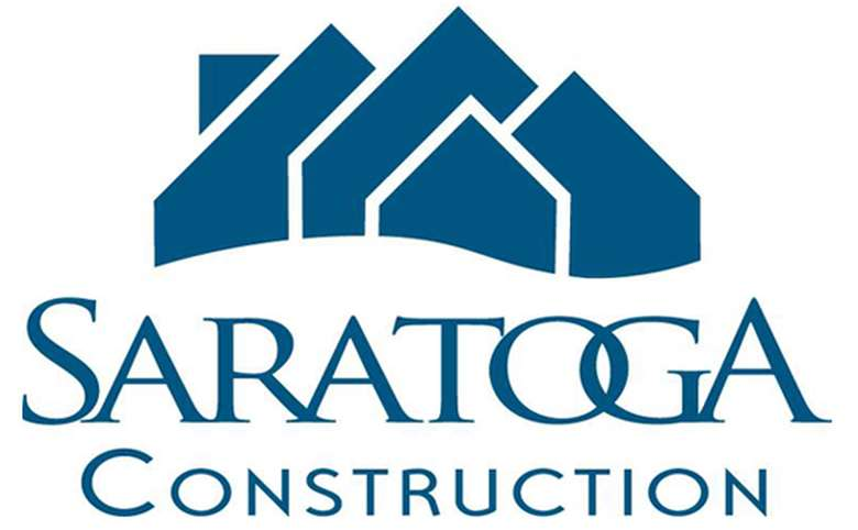 logo, blue on white, with the words Saratoga Construction, and the outlines of four houses grouped together