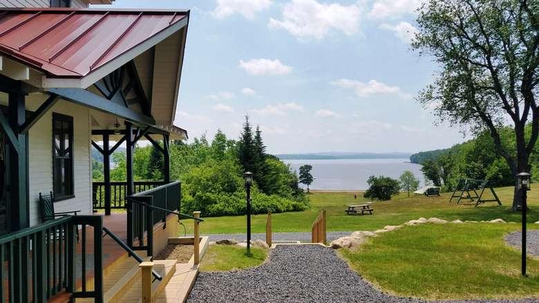 Main lodge overlooking piseco lake
