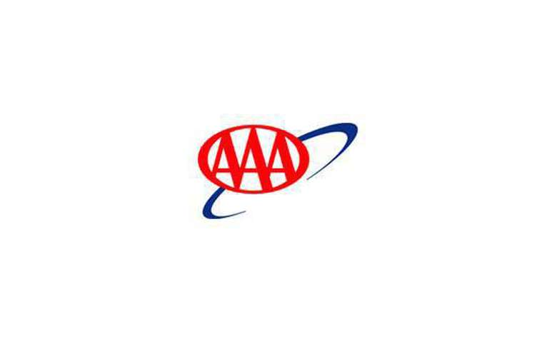 The triple A logo on a white rectangle. The logo displays three bright red capital As in an oval on a blue ring