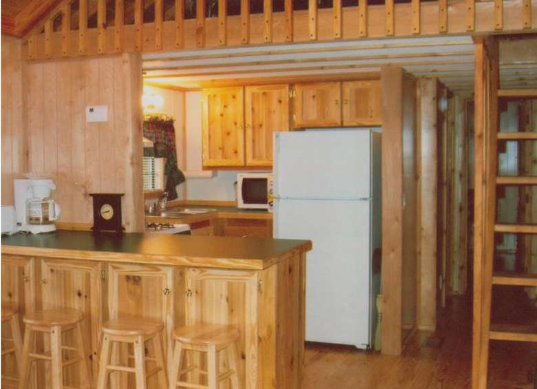 kitchen in a log cabin with bar stools and a ladder leading up to the loft