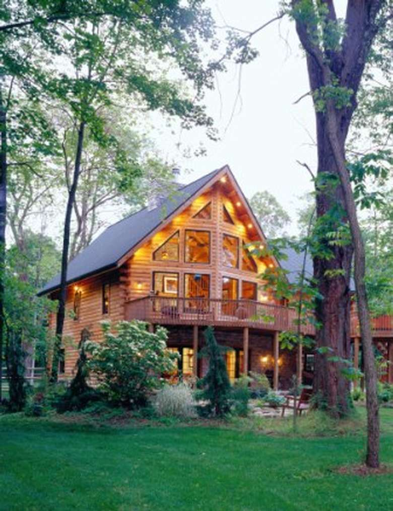 Tall wooden house amongst trees