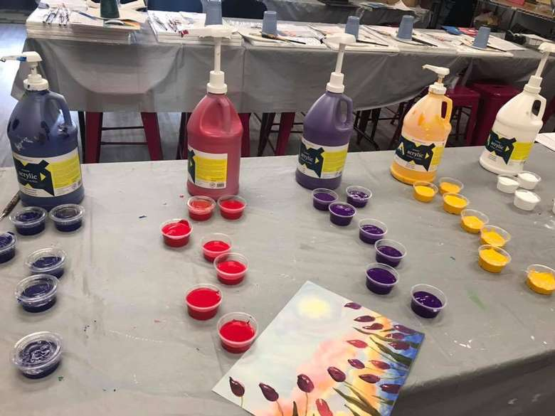 paint lined up in small cups