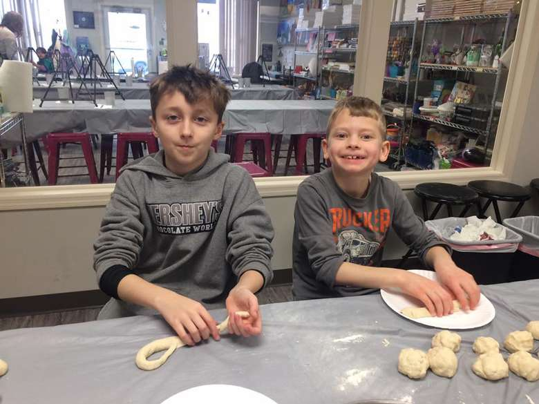 two kids in cooking class