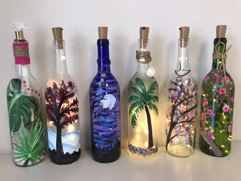 light up painted bottles