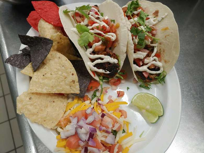 soft tacos and chips