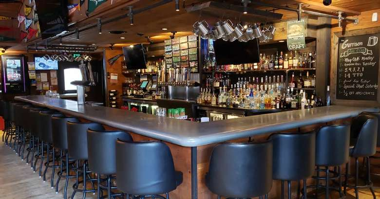 high chairs around a bar