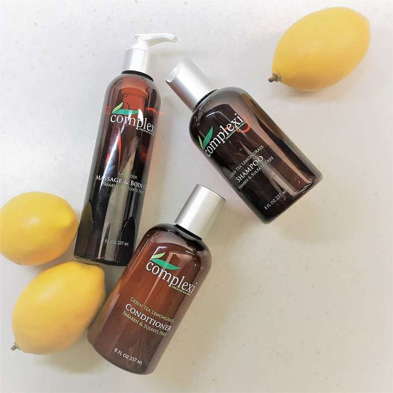 lemons and bottles of beauty products