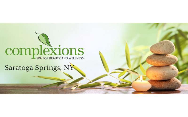 the logo for complexions spa in saratoga springs