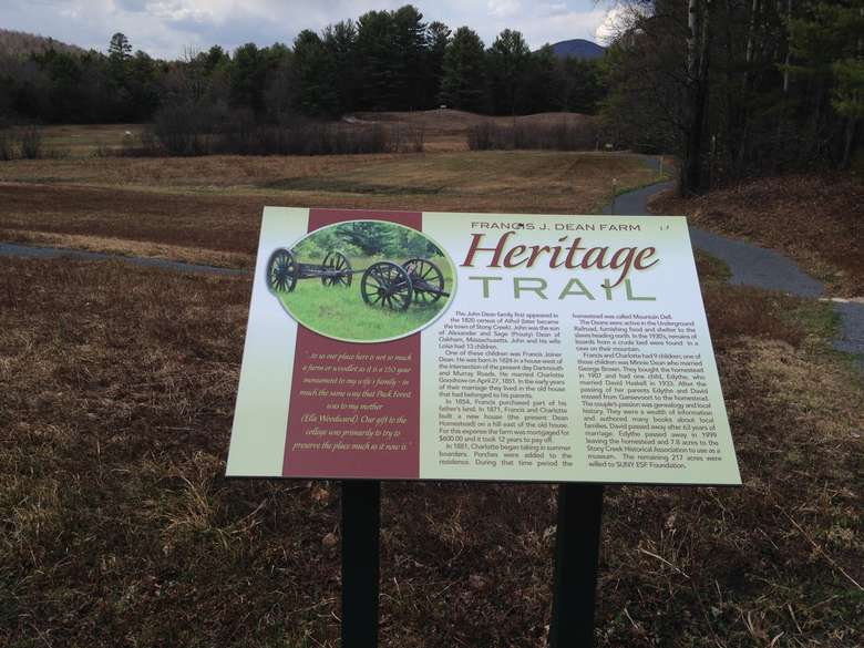 informative signage describing the dean farm heritage trail