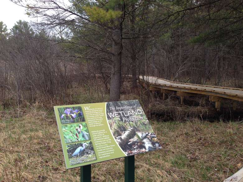 informative signage describing the importance of wetland protection