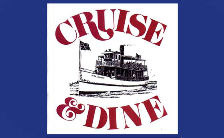 illustration of a small steamboat with text that says cruise & dine