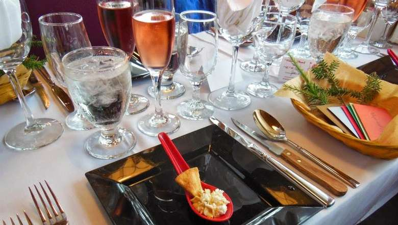 place settings at dinner tables on a steamboat