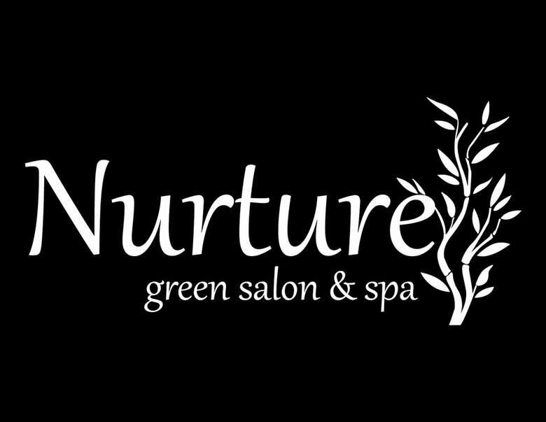 nurture green salon and spa logo on a black background