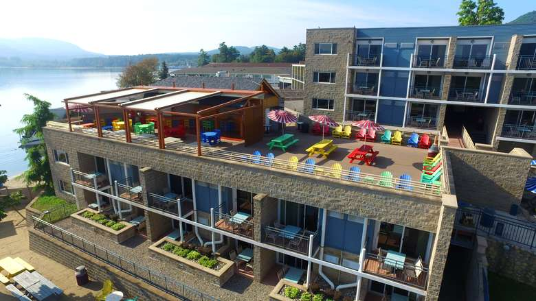 aerial view of a hotel with a rooftop cabana bar