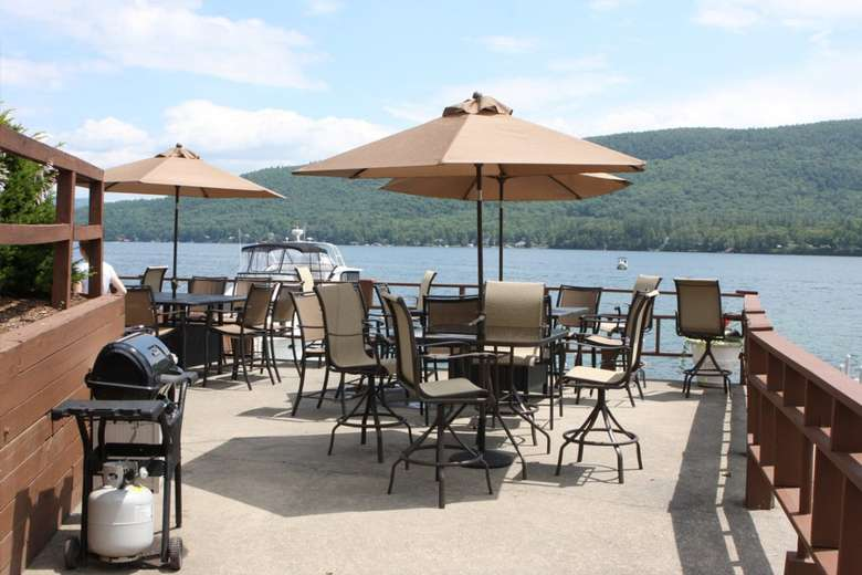 outdoor patio by the lake