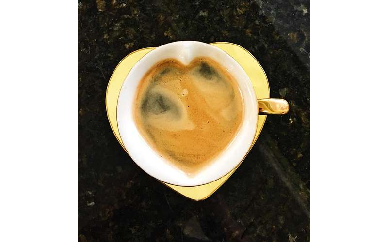 Coffee in a heart-shaped cup