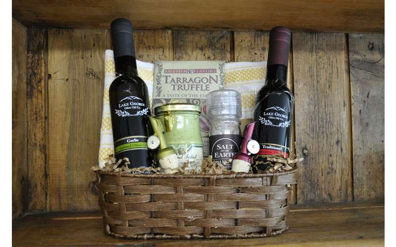 Gift basket from Lake George Olive Oil.