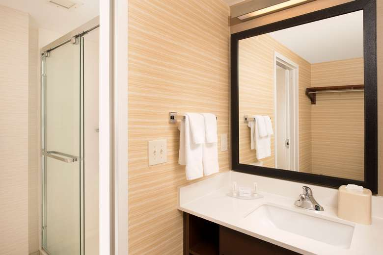 bathroom with shower, sink and mirror