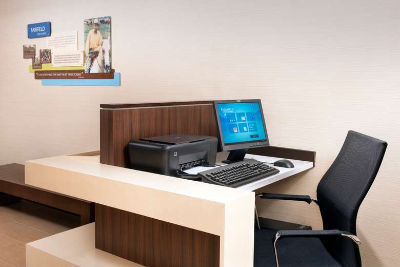 Desk with computer and printer