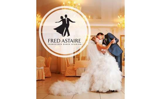 wedding photo with the fred astaire dance studio logo on it