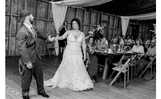 Our happy couple, Matt and Rebecca, dancing at their wedding