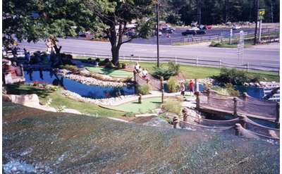 View of Pirate's Cove golf course from the top of a waterfall