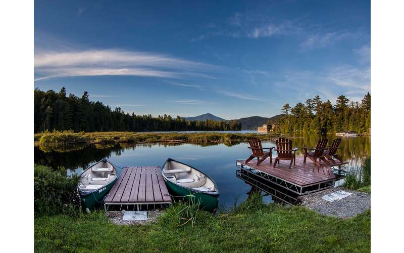 Backyard docks with canoes