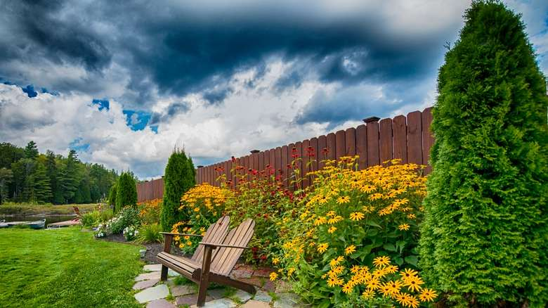 Adirondack chairs by flowers and fence
