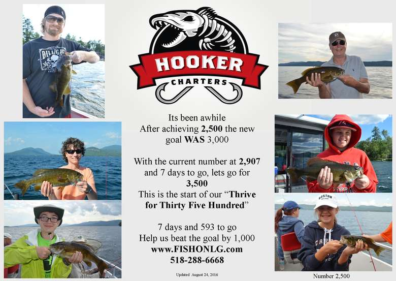 Image advertising Hooker Charters' goal of catching 3,000 fish