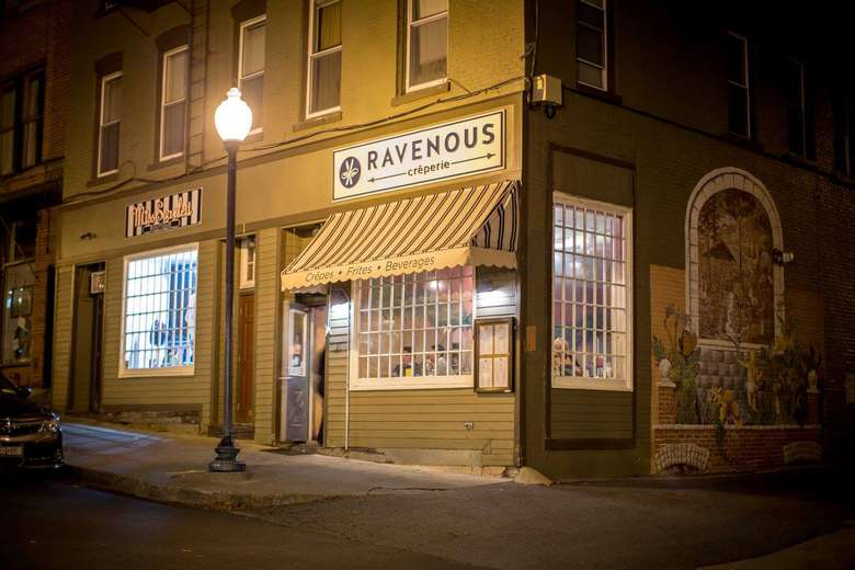 exterior of ravenous at night