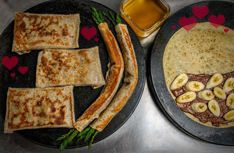 six different types of sweet and savory crepes