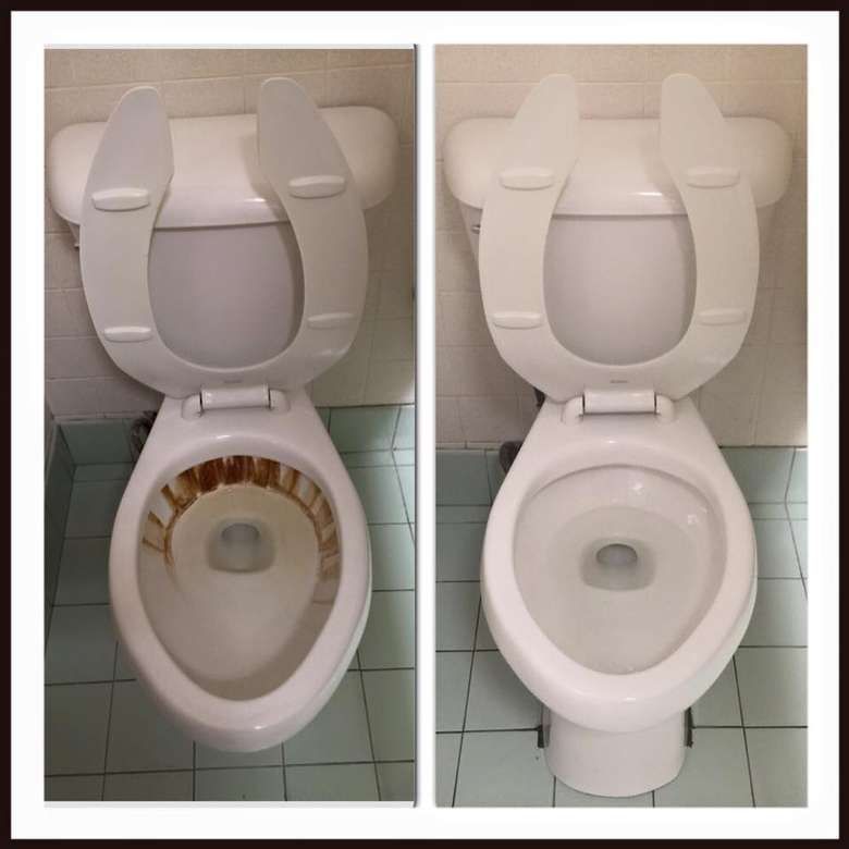 split image before and after of dirty and clean toilet