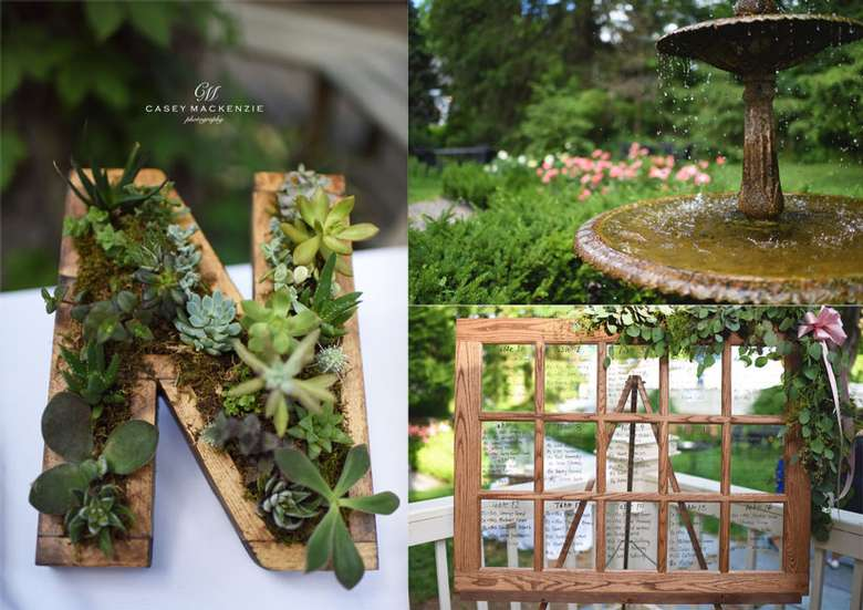 wedding decorations, fountain, succulent N, frame